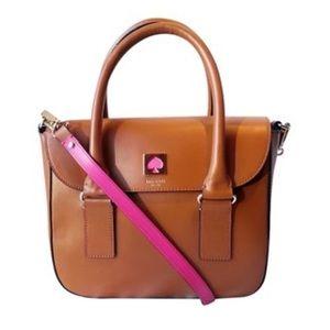 Kate Spade Bond Street Tan Pink Satchel Bag Purse